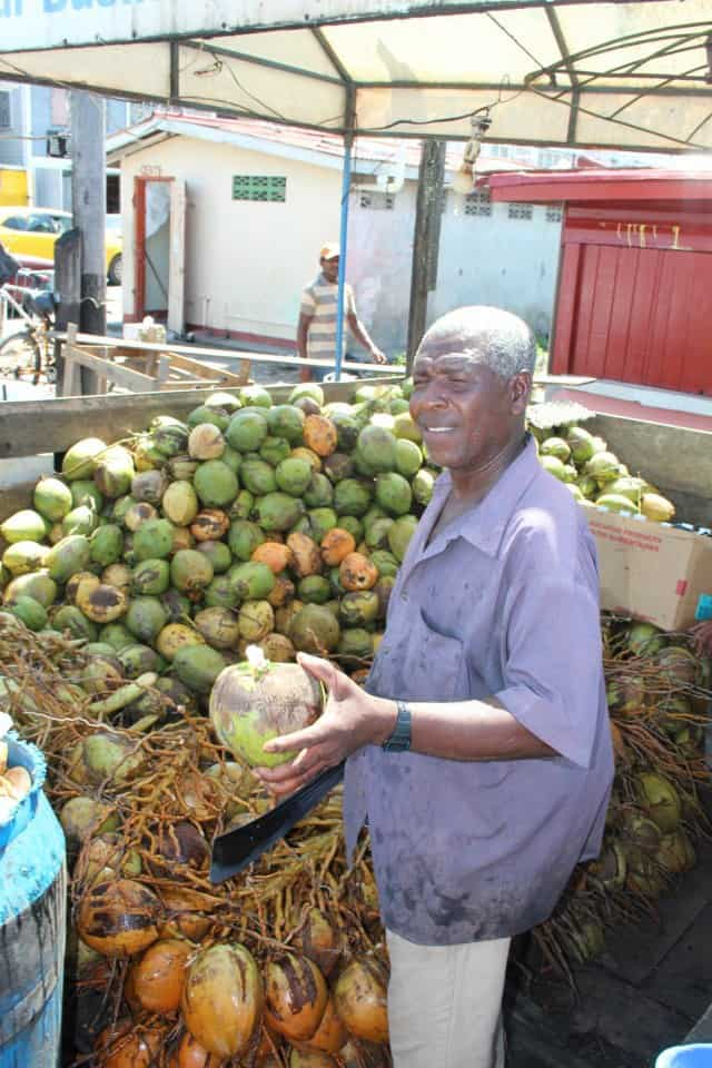 Coconut man at Bourda Market
