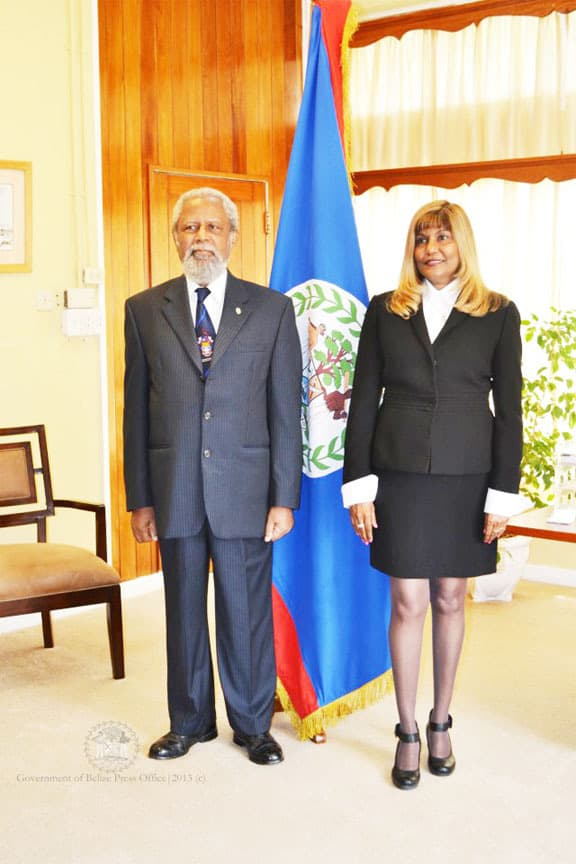 Justice Minnet Hafiz-Bertram and Belize Governor General Sir Colville Young