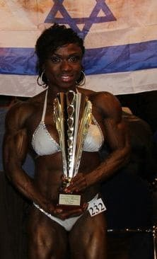 Shipp holding her trophy in Germany