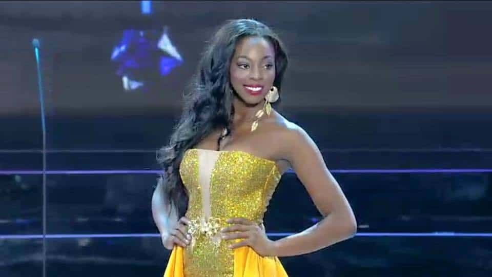 Miss Grand Guyana Soyini Fraser during the Evening Gown segment of the Preliminaries of Miss Grand International 2015.